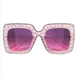 NWT! UV 400 Oversized Pink Bling Bling Sunglasses
